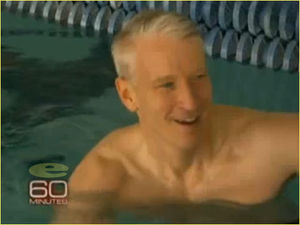 MICHAEL PHELPS BEATS ANDERSON COOPER IN SWIM COMPETITION