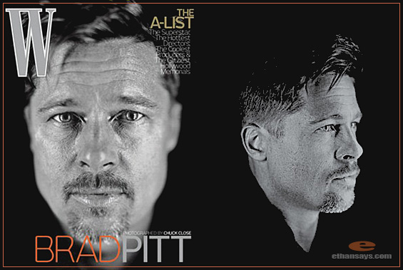 BRAD PITT KEEPS MOVING FOR W MAGAZINE