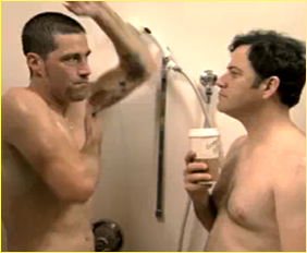 MATTHEW FOX AND JIMMY KIMMEL SHOWER AND STARE