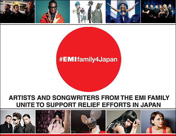 EMI Artists and Songwriters Unite for Japan